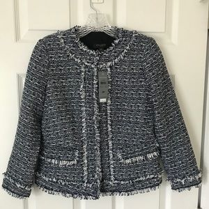 NWT Ann Taylor Tweed Fringe Jacket 0P